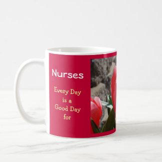 Nurses Pink Tulips Good Day Kind Word Good Deeds Classic White Coffee Mug