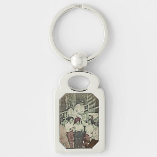Nurses Receive Mail WWII Silver-Colored Rectangular Metal Keychain