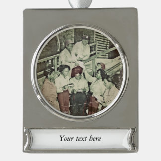 Nurses Receive Mail WWII Silver Plated Banner Ornament