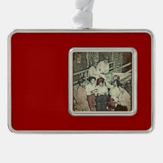 Nurses Receive Mail WWII Silver Plated Framed Ornament
