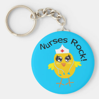 Nurses Rock Basic Round Button Keychain