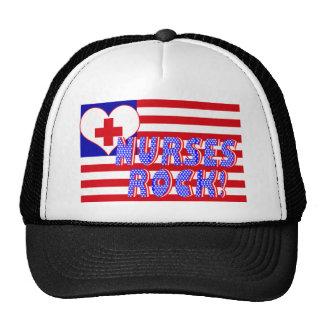 NURSES ROCK FLAG HEART CARE LOGO TRUCKER HAT
