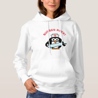 NURSES ROCK! Funny nursing penguin women's hoodie