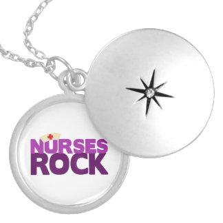 Nurses Rock Round Locket Necklace