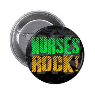 Nurses Rock, Orange and Green Fun Button