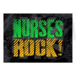 Nurses Rock, Orange and Green Fun Greeting Card