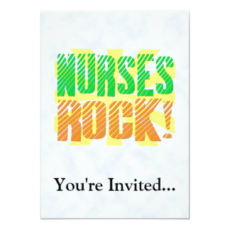 Nurses Rock, Orange and Green Fun 5x7 Paper Invitation Card