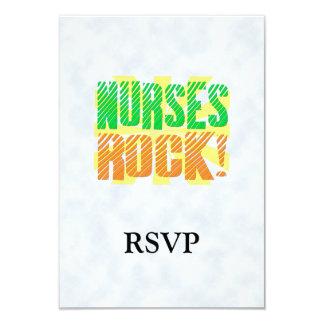 Nurses Rock, Orange and Green Fun 3.5x5 Paper Invitation Card