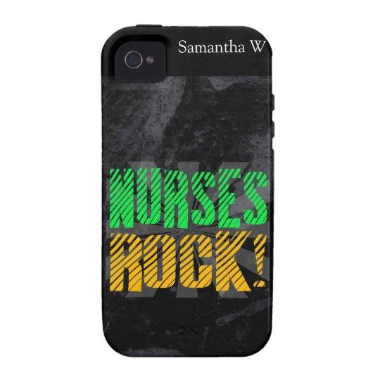 Nurses Rock, Orange and Green Fun iPhone 4/4S Case