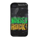Nurses Rock, Orange and Green Fun iPhone 4 Case