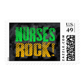 Nurses Rock, Orange and Green Fun Postage Stamp
