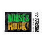 Nurses Rock, Orange and Green Fun Postage Stamps