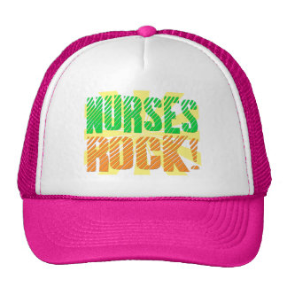 Nurses Rock, Orange and Green Fun Trucker Hat