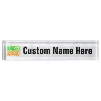 Nurses Rock, Orange/Green Fun Nurse Nameplate