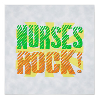 Nurses Rock, Orange/Green Fun Nurse Poster