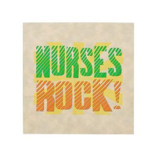 Nurses Rock, Orange/Green Fun Nurse Wood Print
