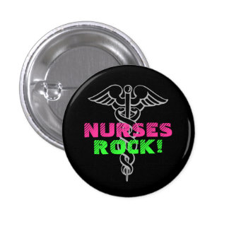Nurses Rock Pinback Button | Neon colors