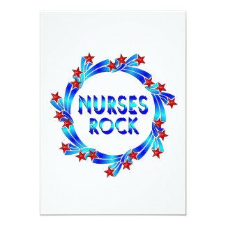 Nurses Rock Red Stars 5x7 Paper Invitation Card