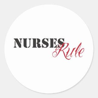 nurses rule classic round sticker