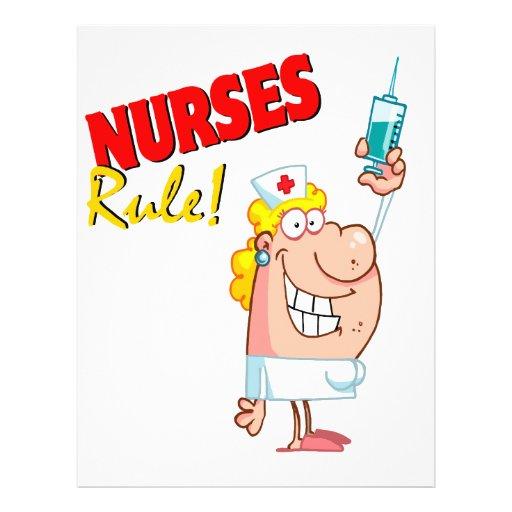 """nurses rule cute cartoon nurse 8.5"""" x 11"""" flyer"""