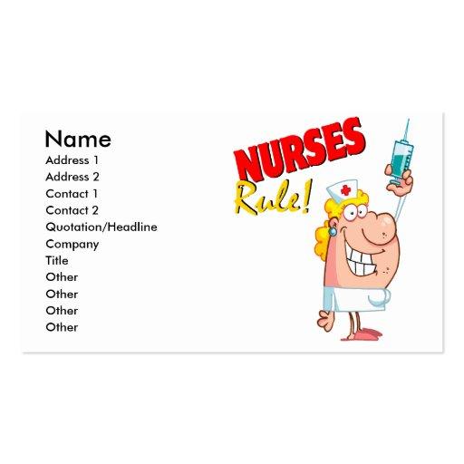 Nurses rule cute cartoon nurse business card zazzle for Nurse business cards