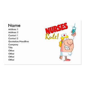 nurses rule cute cartoon nurse business card template