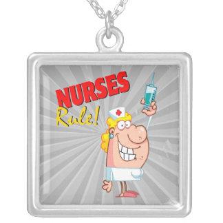 nurses rule cute cartoon nurse square pendant necklace