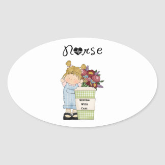 Nurses Serving With Care Oval Sticker