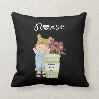 Nurses Serving With Care Throw Pillows