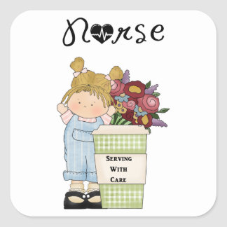 Nurses Serving With Care Square Sticker