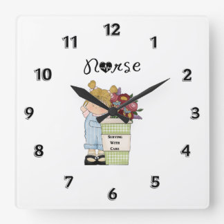 Nurses Serving With Care Square Wall Clock