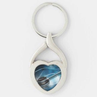 Nurses Stethoscopes Silver-Colored Heart-Shaped Metal Keychain