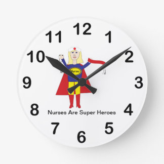 Nurses Super Heroes (Blonde) Round Clock