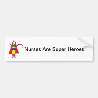 Nurses Super Heroes (Brunette) Car Bumper Sticker