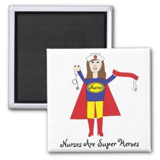 Nurses Super Heroes (Brunette) Magnet