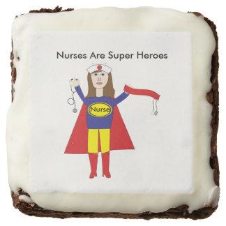 Nurses Super Heroes (Brunette) Personalize Brownie