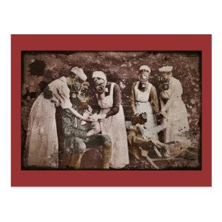Nurses treat soldiers in Gas Masks Postcard