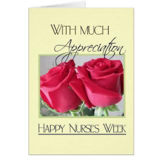 Nurses Week Appreciation-Two Red Roses Greeting Card