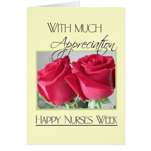 Nurses Week Appreciation-Two Red Roses Greeting Card   Zazzle
