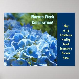 Nurses Week Celebration posters Blue Floral custom