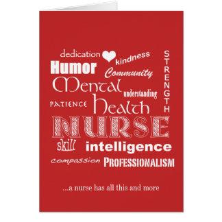 Nurses Week-Mental Health Nurse Attributes-Red Greeting Card