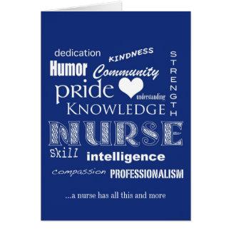 Nurses Week- Nurse Attributes-Blue Greeting Card