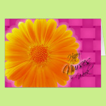 Nurses Week Orange Gerbera Daisy Card