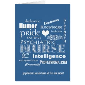 Nurses Week-Psychiatric Nurse Word Cloud-Blue Greeting Cards