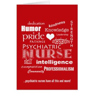 Nurses Week-Psychiatric Nurse Word Cloud-Red Greeting Cards