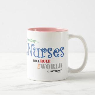 Nurses Will Rule The WORLDLarge  Mug (Pink)