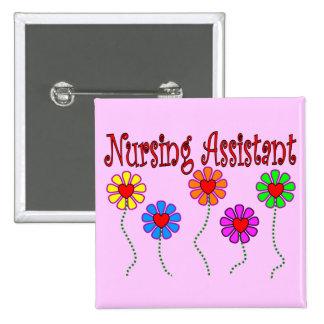 Nursing Assistant Gifts--Floral Design 2 Inch Square Button