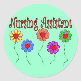 Nursing Assistant Gifts--Floral Design Classic Round Sticker
