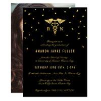 Nursing Graduation Invitations   Gold & Black