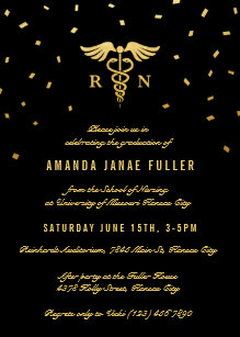 Nursing graduation invitations zazzle nursing graduation invitations gold black filmwisefo